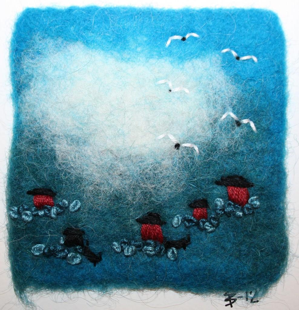Minitavla med sjöbodar