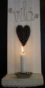 Ampel med hjärta, text Vila och ljushållare