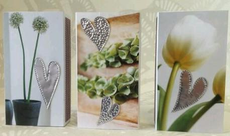 Tänsticksaskar med plåthjärtan och växtbild