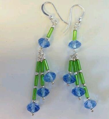 Gröna/blå silverörhängen