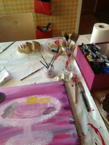 Min målning på gång, penslar och färg