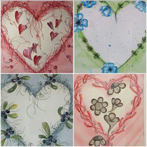 Akvarellmålningar med hjärtan